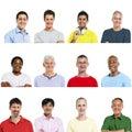 Portraits of Multiethnic Diverse Cheerful Men