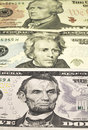 The portraits of U.S. Presidents represented on notes of 5,10,20 Royalty Free Stock Photo
