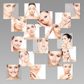 Portraits of young healthy and beautiful women plastic surgery medicine spa cosmetics visage concept Royalty Free Stock Image