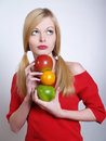 Portrate of beautiful girl with the fruits Stock Images