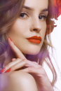 Portret of Beautiful fashion Woman with red lips and nails.Rose Royalty Free Stock Photo