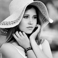 Portret of dreamy girl in the hat Royalty Free Stock Photo