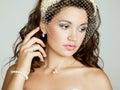 Portret piękna panna młoda ślubna fotografia Obraz Stock