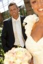 Portret van knappe bruidegom op huwelijk dag Stock Foto
