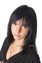 Portret of young woman with black hair Royalty Free Stock Photography