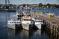 Portsmouth new hampshire harbor lobster boats docked in in Stock Images