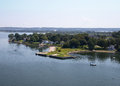 Portsmouth ri as seen from the mount hope bridge photograph of top of in Royalty Free Stock Photography