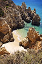 Portugal algarve beach hot and sunny day and a secluded in lagos Stock Photo