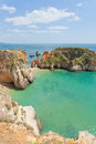 Portugal algarve at the beach of tres irmaos Royalty Free Stock Photos