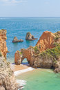 Portugal algarve at the beach of tres irmaos Royalty Free Stock Image