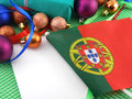Portugal flag with christmas decoration new year card Stock Photo