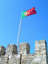 Portugal Flag Waving Saint George Castle Royalty Free Stock Photo