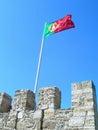 Portugal Flag Waving Saint George Castle Royalty Free Stock Photo
