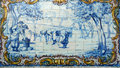 Portugal historical azulejo ceramic tiles alentejo region important blue and white depicting rural scene Stock Photography