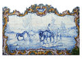 Portugal historical azulejo ceramic tiles alentejo region important blue and white depicting rural scene Stock Image
