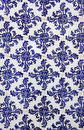 Portugal historical azulejo ceramic tiles lisbon blue and white wall with symmetrical design Stock Photo
