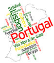 Portugal map and cities words cloud with larger Stock Images
