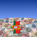 Portugal map flag on euros Royalty Free Stock Images