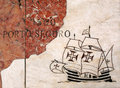Portugal map of portuguese voyages of discovery in marble lisbon scribed depicting a caravela sailing ship arriving at porto Royalty Free Stock Images