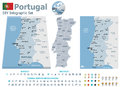Portugal maps with markers set of the political and symbols for infographic Royalty Free Stock Photos