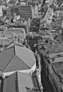 Portugal. Porto. Aerial view over the city. In black and white Royalty Free Stock Photo