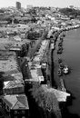 Portugal porto city view of douro river embankment in black a the morning and white Stock Photos