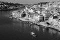 Portugal porto city view of douro river embankment in black a the morning and white Royalty Free Stock Images