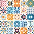 Portugal seamless pattern. Vintage mediterranean ceramic tile texture. Geometric tiles patterns and wall print textures Royalty Free Stock Photo