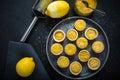 Portugese mini lemon custard tarts with curd and fresh fruit Royalty Free Stock Photo