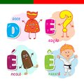 Portuguese alphabet. Candy, question mark, popsicle, karate. The letters and characters. Royalty Free Stock Photo