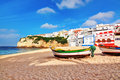 Portuguese beach villa in carvoeiro classic fishing boats summer Stock Photography