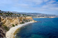 Portuguese bend rugged coastline in palos verdes california Royalty Free Stock Photo