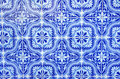 Portuguese blue tiles close up Stock Image