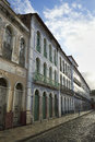 Portuguese brazilian colonial architecture rua portugal sao luis brazil traditional color and syle on street in Stock Image