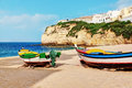 Portuguese carvoeiro beach a classic fishing boats Royalty Free Stock Photography