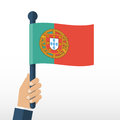 Portuguese flag in hands