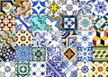 Portuguese glazed tiles closeup detail of old Stock Image