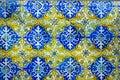 Portuguese Handmade Tiles, Blue, Yellow, White, Textures, Arts Royalty Free Stock Photo