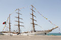 Portuguese navy training tallship Sagres III, Praia, Cape Verde Royalty Free Stock Photo