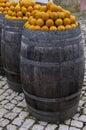 Portuguese oranges barrels of fresh obidos portugal Stock Photography