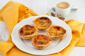 Portuguese pastries on the plate Stock Photo