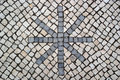 Portuguese pavement calcada portuguesa detail of the Royalty Free Stock Photo