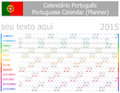 2015 Portuguese Planner-2 Calendar with Horizontal Months