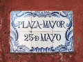 Portuguese street sign the town on colonia del sacramento was founded in by portugese and retains many of its old history such as Stock Photo