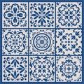Portuguese tiles with azulejo ornaments
