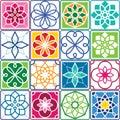 Portuguese tiles pattern - Azulejo, seamless geometric design colorful set