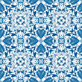 Portuguese tiles seamless pattern illustration in blue like Royalty Free Stock Photography