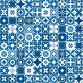 Portuguese tiles seamless pattern illustration in blue like Royalty Free Stock Images