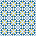 Portuguese tiles seamless pattern illustration in blue and orange like Stock Photography