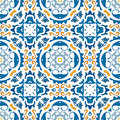 Portuguese tiles seamless pattern illustration in blue and orange like Royalty Free Stock Photos